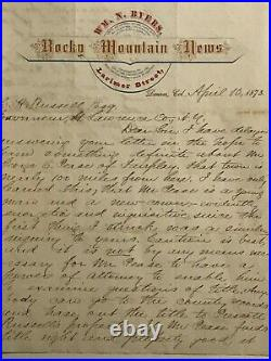 1873 hand written and signed W. Byer letter on Rocky Mountain News Stationery