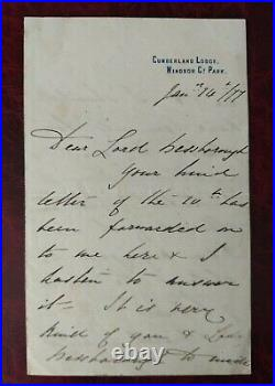 1877 Prince Arthur Son of Queen Victoria handwritten/signed letter
