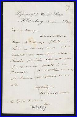 1882 Hand Written Letter/Signed by William H. Hunt Minister to Russian Empire