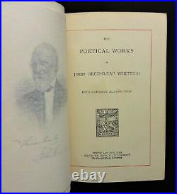 1886 Poetical Works of John Greenleaf Whittier with SIGNED HANDWRITTEN LETTER