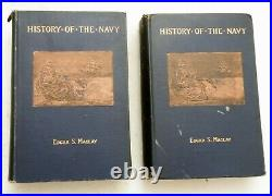 1894, 2 Vol, History of the Navy, ES Maclay, 2 HANDWRITTEN MACLAY SIGNED LETTERS