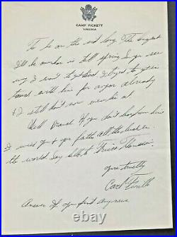 1944 Handwritten Letter Private Carl Furillo Dodgers Signed To Branch Rickey WOW