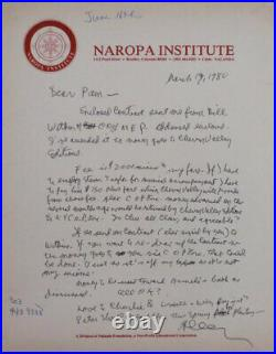 Allen Beats Ginsberg / One Page Handwritten Signed Letter from 1980 1st Edition