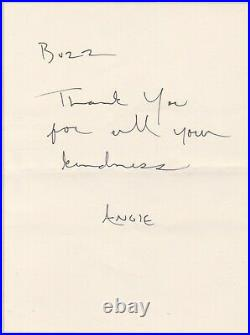 Angelina Jolie personal handwritten letter (written to Buzz and signed Angie)