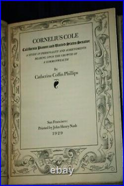 Biography by Phillips of Sen. Cornelius Cole with Handwritten Letter Signed By Cole