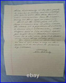Don Malarkey Band Of Brothers 101 AB 506 ECo Autographed Hand Written Letter DEC