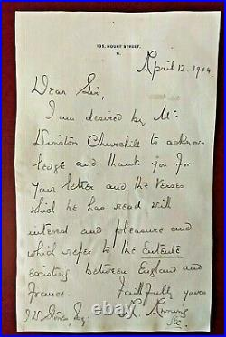 Early Winston Churchill letter handwritten/signed by his secretary in 1904