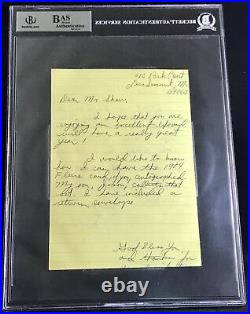 Eric Show Padres Auto Signed Handwritten Letter Beckett Bas Pete Rose Hit #4192