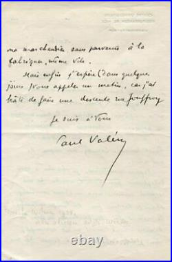FRENCH POET Paul Valery autograph, handwritten letter signed