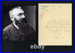 FRENCH SCULPTOR Auguste Rodin autograph, handwritten letter signed & mounted