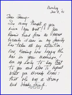 Fay Wray Signed Hand Written Letter Note JSA Authenticated