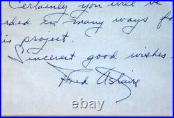 Fred Astaire Handwritten and Signed Letter JSA Hall Bartlett