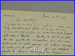 French Pianist Monique Haas Handwritten Signed Letter to Violinist Fritz Hirt