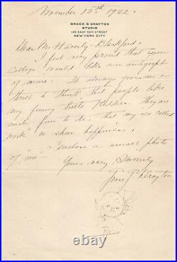 Grace G. Drayton Handwritten Letter/Sketch on 7 x 10 Paper Signed with COA