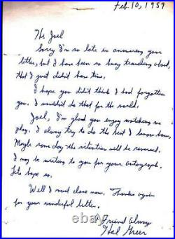 Hal Greer (d. 2018) Signed 1959 Hand Written Letter Rookie Year HOF NBA Sixer BAS