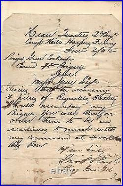 Handwritten Letter Signed by John Potts Slough in 1862 with COA