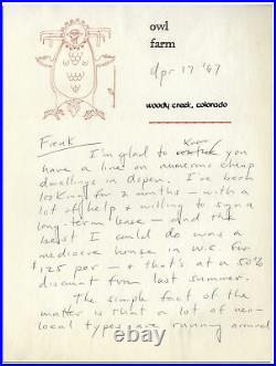 Hunter S. Thompson 6 Page Handwritten Letter Signed