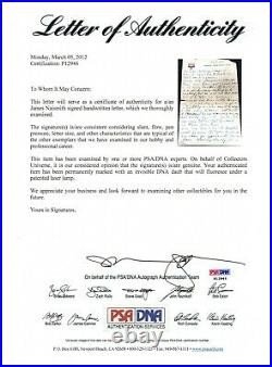 James Naismith 1918 Signed Handwritten 3 Page Letter Psa/dna Certified Autograph