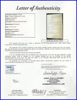 Jerry West Hand Written+signed Letter 1961 Rare Lakers Legend Jsa