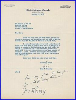 Kennedy, John F. (1917-1963) Typed letter signed with handwritten addition