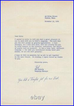 Kennedy, Robert F. (1925-1968) Typed letter signed with handwritten addition