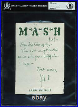 Larry Gelbart Authentic Signed Handwritten 5.5x8 Letter Dated 1/30/01 BAS Slab