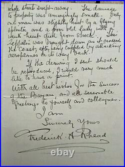 Original 1916 signed hand written letter by Frederick Alfred Rhead
