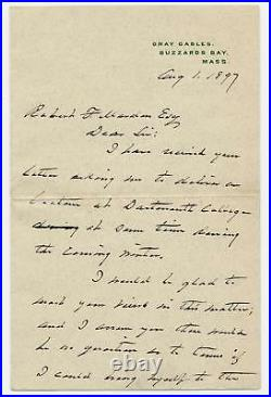President Grover Cleveland Autographed Handwritten Letter with COA 1897