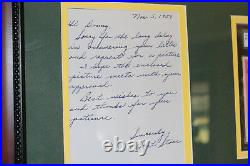 RARE (2) early hand-written and signed/autograph/auto BART STARR letters FRAMED