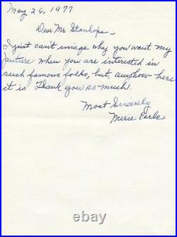 Rare Character Actress Merie Earle Signed Handwritten Letter 1977