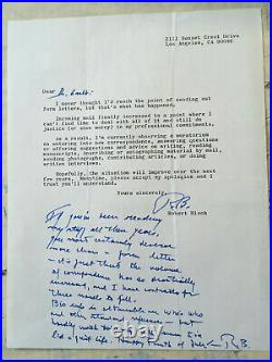 Robert Bloch Author Of Psycho form letter with long handwritten note signed