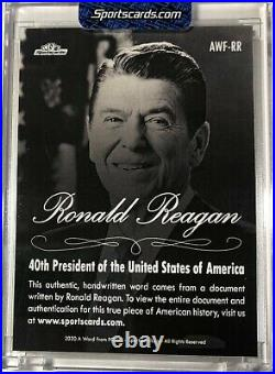 Ronald Reagan 2020 Handwritten Word From The President Potus Signed Letter Relic