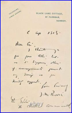 Very Rare! James M. Barrie, Author Of'Peter Pan', A Handwritten & Signed Letter