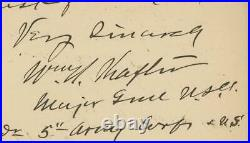 WILLIAM RUFUS SHAFTER signed handwritten 1898 letter Union General autograph