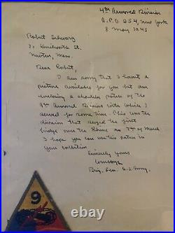 WWII Autographed Hand Written Letter US General Hoge 4th Armor Division & Patch
