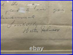 Walter Johnson autographed hand written letter with Envelope JSA LOA NICE